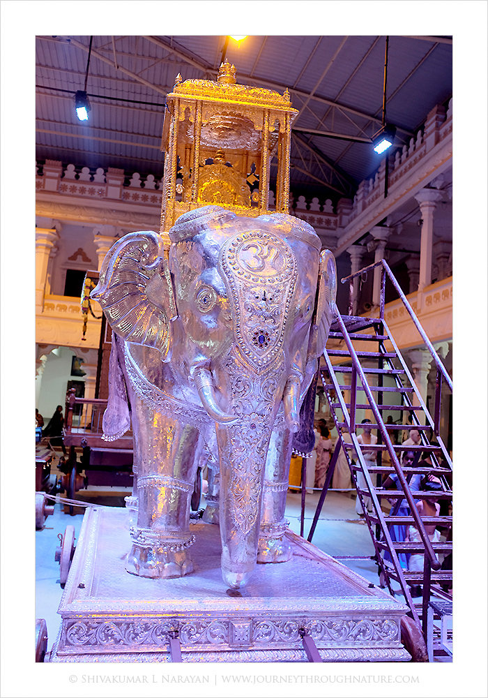 Silver elephant statue at Mantralaya temple