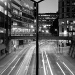 Free city traffic at night black & white HD Wallpaper Download