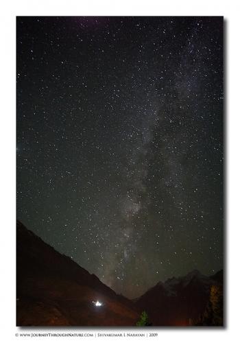 milkyway stars ladakh landscape