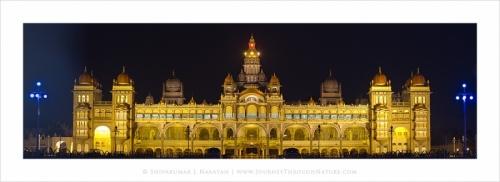 mysorepalace night panorama
